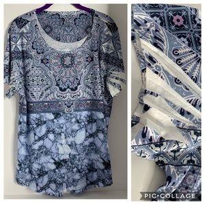 Style & Co. Pattern Boho Butterfly Sleeve Tunic 2X